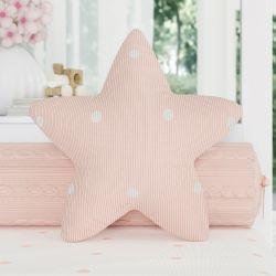 Almofada Estrela Tricot Poá Salmão 30cm