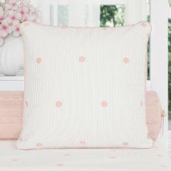Almofada Tricot Poá Salmão/Branco 30cm