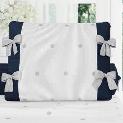 Almofada Laços Tricot Poá Azul Marinho 38cm