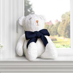 Urso Tricot Off White/Azul Marinho 42cm