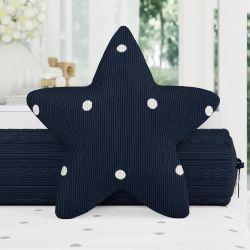 Almofada Estrela Tricot Poá Azul Marinho 30cm