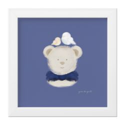 Quadro Ursinho e Passarinhos Azul Marinho