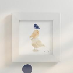 Quadro Passarinhos Azul Marinho 20cm