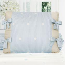 Almofada Laços Tricot Poá Azul/Bege 38cm