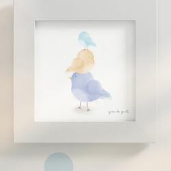 Quadro Passarinhos Azul/Amarelo 20cm