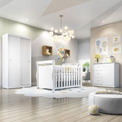 Quarto de Bebê Dom com Berço/Cômoda/Guarda-Roupa de 2 Portas