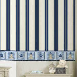 Papel de Parede Listrado Azul Marinho/Bege 10m