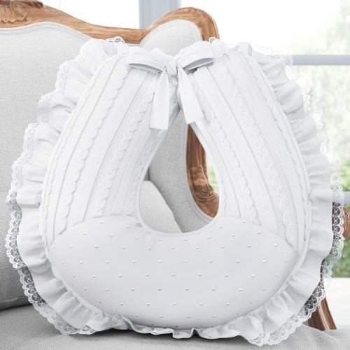 Almofada Amamentação com Babado e Renda Tricot Luxo Bordado Branco