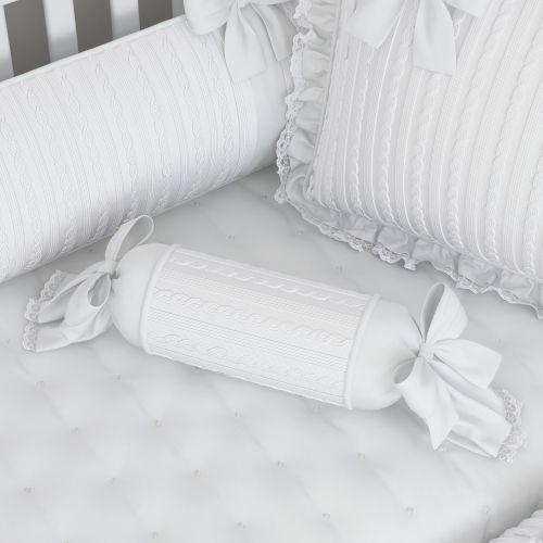 Almofada Apoio Bala Tricot Luxo Branco