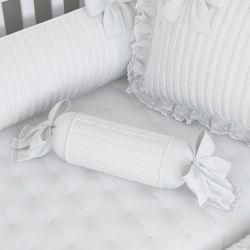 Almofada Apoio Bala Tricot Luxo Branco 60cm