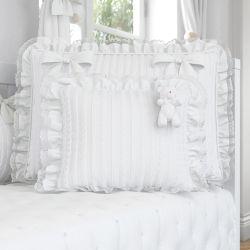 Almofada Ursinho e Rendinha Tricot Luxo Branco 30cm