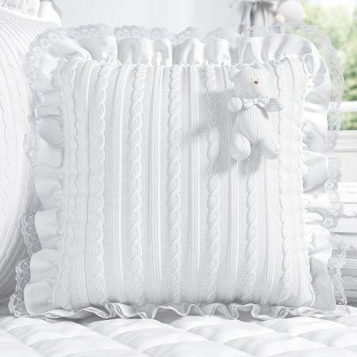 Almofada Ursinho e Rendinha Tricot Luxo Branco 38cm
