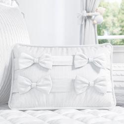 Almofada Laços Tricot Luxo Branco 43cm