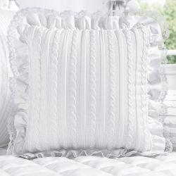 Almofada Tricot Luxo Branco com Renda e Babado 38cm