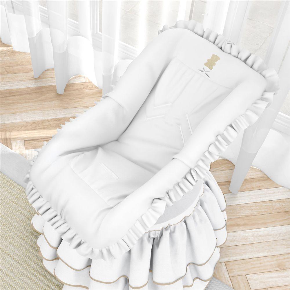 Capa para Bebê Conforto Urso Luxo Branco Grão de Gente