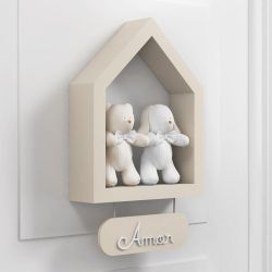 Porta Maternidade Nicho Casinha com Urso e Coelho Bege