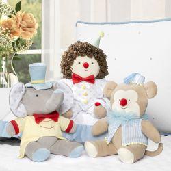Bichinhos de Pelúcia Macaquinho, Elefante e Palhacinho Baby do Circo 3 Peças