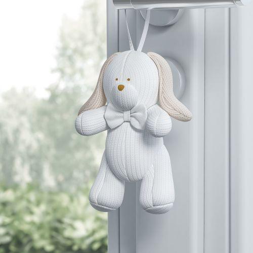 Enfeite para Puxador Coelho Tricot Luxo Branco