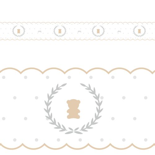 Faixa Adesiva de Parede Urso Luxo Branco