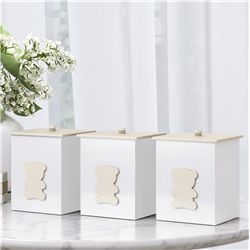 Jogo de Potes Urso Luxo Branco