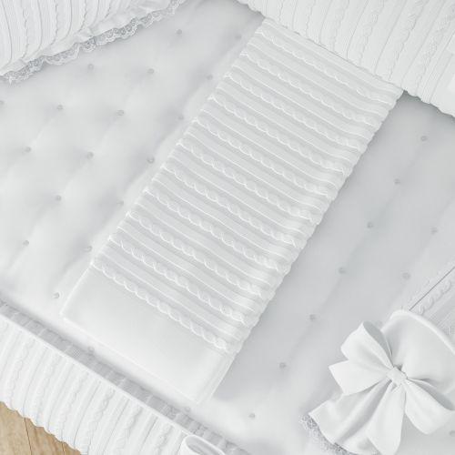 Manta de Tricot Luxo Branca 1m