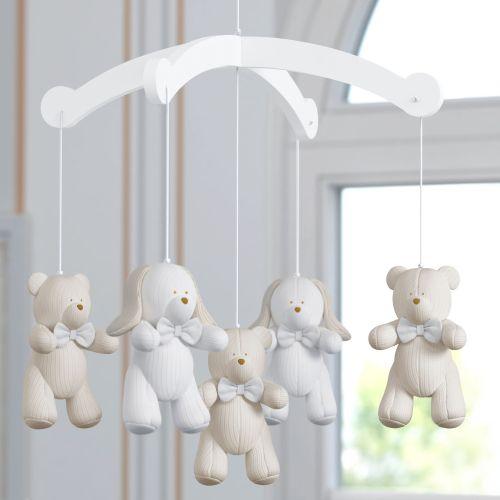 Móbile Ursos e Coelhos Tricot Luxo Branco