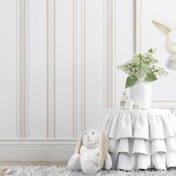 Papel de Parede Luxo Listrado Branco/Bege 3m