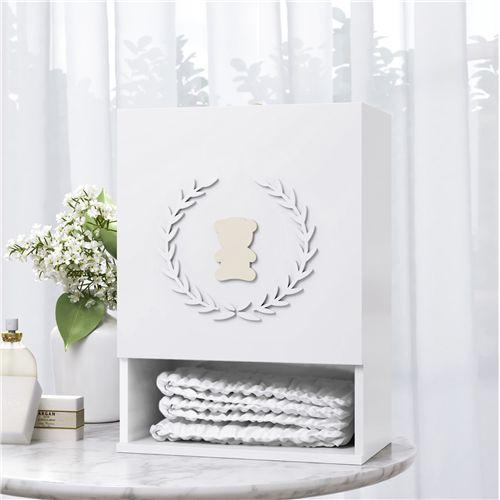 Porta Fraldas MDF Urso Luxo Branco