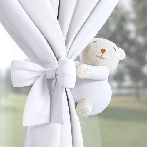 Prendedor de Cortina Urso Tricot Luxo Branco