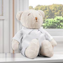 Urso Clássico Tricot Luxo Branco 42cm