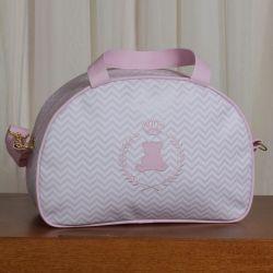 Frasqueira Maternidade Ursinho Mini Chevron Rosa 35cm