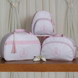 Conjunto de Bolsas Maternidade Ursinho Mini Chevron Rosa