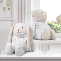 Urso e Coelho Tricot Luxo Branco 42cm