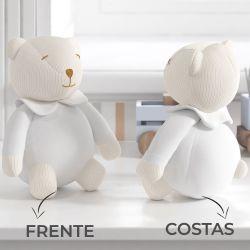 Urso Decorativo Tricot Luxo Branco 18cm