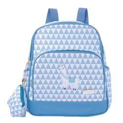 Mochila Maternidade Lhama Triângulos Azul