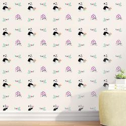 Papel de Parede Urso Panda Floral Moderna 3m