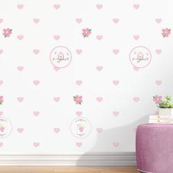 Papel de Parede Passarinho,Casinha e Coração Rosa 3m