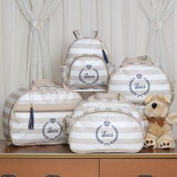 Conjunto de Bolsas Maternidade Mônaco Nome Personalizado Bege/Azul Marinho