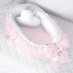 Ninho para Bebê Redutor de Berço Poá Rosa/Branco