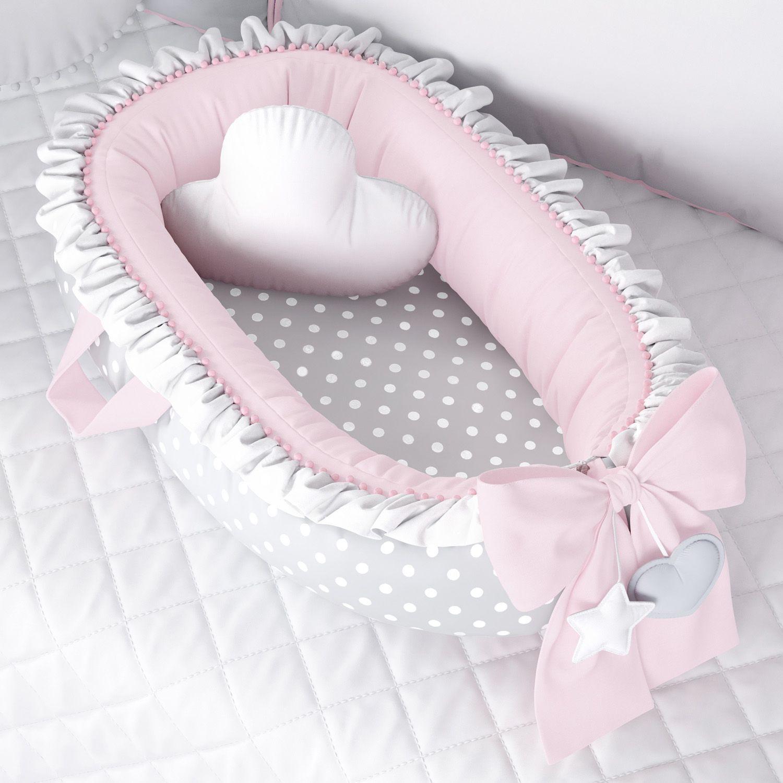 f27e992a84 Ninho para Bebê Redutor de Berço Poá Rosa Cinza
