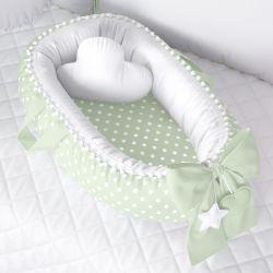 Ninho para Bebê Redutor de Berço Poá Verde/Branco