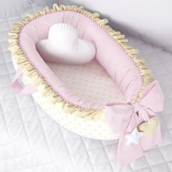 Ninho para Bebê Redutor de Berço Poá Rosa/Amarelo 80cm