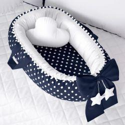 Ninho para Bebê Redutor de Berço Poá Azul Marinho/Branco