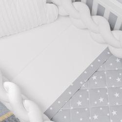 Jogo de Lençol Berço Estrelinhas Branco/Cinza