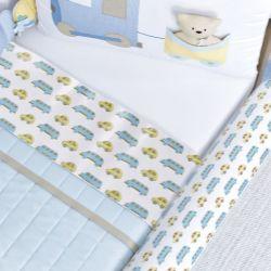 Jogo de Lençol Branco com Barra Carrinhos Azul/Amarelo