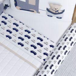 Jogo de Lençol Branco com Barra Carrinhos Azul Marinho/Cinza