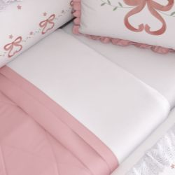 Jogo de Lençol Branco com Barra Branca/Rosé