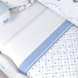 Jogo de Lençol Branco com Barra Branca/Azul