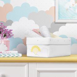 Cesto Organizador Sol e Nuvens de Algodão 40cm