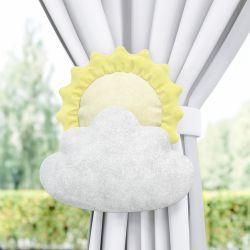 Prendedor de Cortina Sol e Estrela na Nuvem